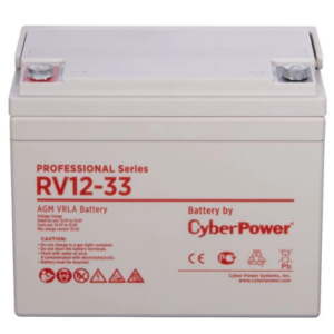 Аккумуляторная батарея PS CyberPower RV 12-33 / 12 В 33 Ач / CyberPower RV 12-33 / Battery CyberPower Professional series RV 12-33, voltage 12V, capacity (discharge 20 h) 35Ah, capacity (discharge 10 h) 35Ah, max. discharge current (5 sec) 540A, max. charge current 10.5A, lead-acid type AGM, terminals under bolt M6, LxWxH 197x130x159mm., full height with terminals 170mm., weight 10.7kg., operational life 10 years
