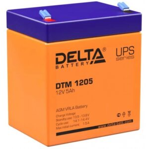 DTM 1205 Delta Аккумуляторная батарея / Delta DTM 1205 / Battery DELTA DTM 1205 (12V 5Ah), 12V voltage, 5A*h capacity, max. discharging rate of 75A, max. charging rate 1.5A, the type of lead-acid AGM, type lead terminal F1, LxWxH 90x70x101mm, full height with terminals 107mm, weight 1.8kg., operational life 6 years